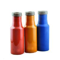 普润 500ML双层不锈钢真空保温杯 翻盖可乐瓶杯子蓝色