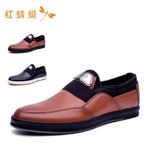 红蜻蜓圆头简约纯色百搭低跟男单鞋
