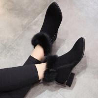 高跟粗跟尖头百搭加绒踝靴及裸靴新款短筒马丁靴潮女短靴