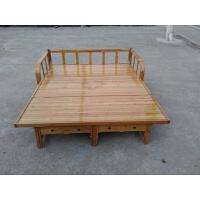 折叠床午休床单人床家用1.2米竹床1.5米双人床1.8简易沙发床 豪华竹沙发床1米8宽无 (2米长)棕色