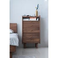 实木五斗柜抽屉式北欧简约现代卧室梳妆台储物收纳柜一体 黑胡桃 新品特惠 整装