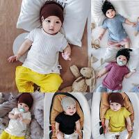 婴儿短袖T恤宝宝夏季上衣套头衫薄款坑条透气03-6-12个月夏装衣服