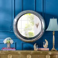 奇居良品 美式家具手工铆钉金属铝皮圆形墙面装饰镜子 银色