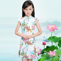 童装2017夏季儿童旗袍裙子女童中国风唐装旗袍新款棉布祺袍裙
