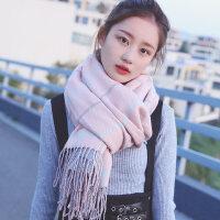 韩版百搭潮长款加厚保暖格子几何流苏披肩两用双面围巾女