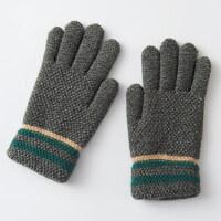 冬天保暖加厚五指小男孩子儿童手套7-10岁毛线儿童手套男