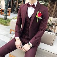 西服套装男士三件套发型师主持人小西装修身韩版伴郎新郎结婚礼服