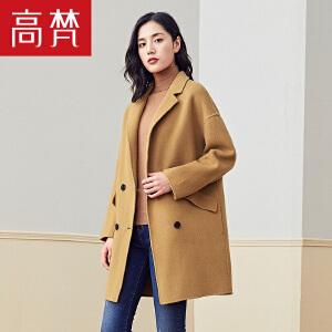 【限时1件3折到手价:399元】高梵秋冬新款羊毛大衣女韩版修身毛呢外套西装领中长款呢大衣