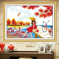秋日守候十字绣线绣客厅卧室简约现代小幅简单绣风景绣系列