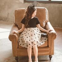 女童洋气连衣裙夏装大童短袖波点公主裙甜美儿童裙