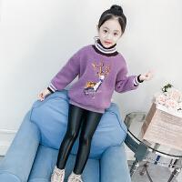 女童卫衣秋冬中大童加绒长袖绒衫韩版潮童装洋气儿童上衣