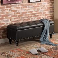 欧式收纳凳储物凳箱服装店沙发凳子长方形家用换鞋凳实木鞋柜可坐