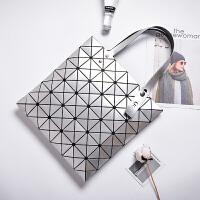 新款几何镭射菱格女包日韩亮片折叠单肩包菱形片片手提包包潮