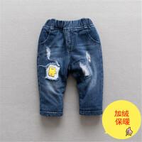 婴儿牛仔裤加绒儿童宝宝冬装大PP裤可开档保暖外出冬款松紧屁屁裤