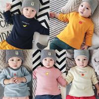 宝宝婴幼儿冬季加绒打底衫上衣套头长袖男女童12个月纯色百搭棉衣
