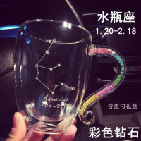 玻璃马克杯限量大号隔热网红水晶带钻星座大容量带盖勺咖啡杯