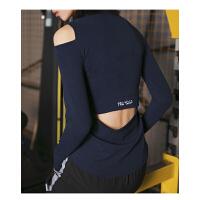 健身衣女运动长袖跑步上衣性感露肩美背瑜伽服显瘦速干T恤