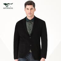 【专柜同款】七匹狼西服 男士时尚休闲针织商务单西装外套 男装 1040613