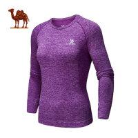 骆驼运动舒适长袖瑜伽服 健身男女款紧身上衣透气吸汗跑步运动T恤