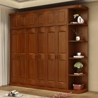 实木衣柜现代简约3四五六门整体新中式卧室家具橡木大衣橱经济型