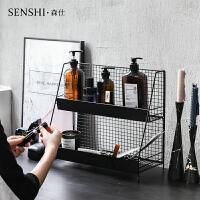 简约铁艺INS双层黑色置物架桌面收纳整理盒宿舍化妆品多功能收纳