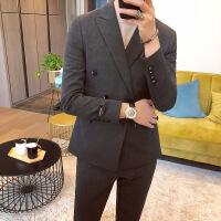 韩版西服套装男韩版修身双排扣小西装新郎结婚礼服英伦职业正装潮