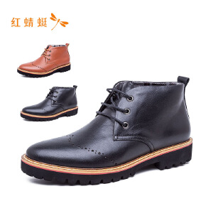 【专柜正品】红蜻蜓圆头镂空低跟系带时尚舒适男单鞋