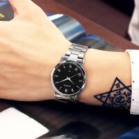 韩版时尚潮流手表男学生简约女表复古夜光钢带石英表情侣手表