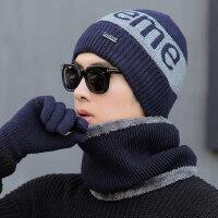 韩版男士围脖手套三件套装 户外骑行针织帽子男 新款加厚保暖毛线帽