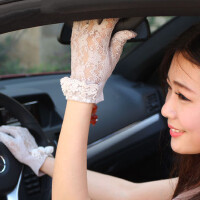 韩版女士优雅防晒手套 透气 开车防滑 蕾丝手套薄短款