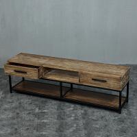 客厅复古电视机柜子组合小户型美式实木家具创意做旧铁艺地柜 单电视柜200*40*55CM 组装