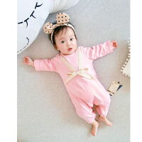 婴儿连体衣服0岁3个月宝宝新生儿春季装休闲睡衣运动外出服