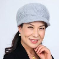 双层加厚保暖老人帽子女 简洁大方保暖兔毛奶奶帽 新款护耳毛线帽中老年女帽妈妈帽子