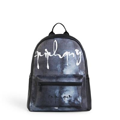 【支持礼品卡支付】Epiphqny重生日韩时尚女包灰色画派印花双肩包学生休闲背包51274全国包邮