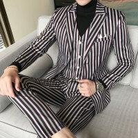 青年潮流条纹撞色潮胖大码男士西装马甲西裤三件套装时尚修身礼服