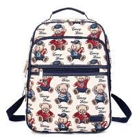 2018新款小熊双肩包14寸电脑背包女帆布大高中学生书包维尼旅行包 蓝色(可装A4杂志)