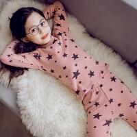 儿童睡衣女秋冬女童圆领长袖棉质家居服套装女孩可爱透气套装