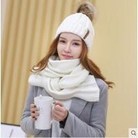 时尚毛线帽子女潮韩国针织帽围巾两件套学生帽可爱百搭加厚保暖