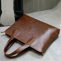 12新款韩版男士手提包商务疯马皮包休闲单肩包斜挎包时尚定型公文包潮流 全场满2件送手包