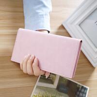 韩版钱包女长款女士钱包薄款小零钱包学生女式卡包拉链皮夹