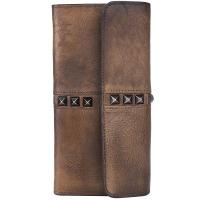 原创真皮长款钱包头层牛皮复古多功能铆钉手包做旧擦色时尚手拿包