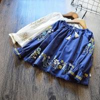 自留 2017秋季新款 童装女童刺绣花朵上衣儿童韩版流苏娃娃衫