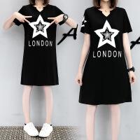 【货到付款】【XL-5XL,200斤可穿】2017夏装新款加肥加大码精品印花连衣裙