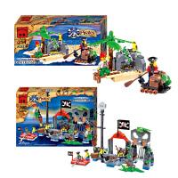 一号玩具 启蒙乐高式拼装积木玩具拼插塑料模型6-10岁儿童益智玩具海盗系列共2盒
