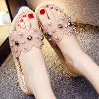 拖鞋 女士一字拖碎花水钻平跟凉鞋2019年夏季新款韩版女式时尚休闲洋气外穿女鞋沙滩鞋