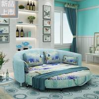 可拆洗双人床沙发折叠1.8米小户型沙发多功能圆沙发床定制 钢架-板款3D纺织冰雪大世界 +可拆洗(2米) 2米以上