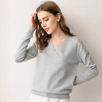针织衫 女士宽松长袖V领针织衫2020冬季韩版女式时尚打底衫学生鸡心领套头衫