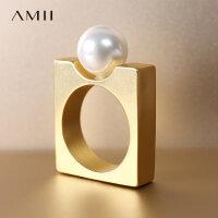 【到手价:58元】Amii[极简主义]几何创意贝珠方形戒指女新金属哑光电镀首饰