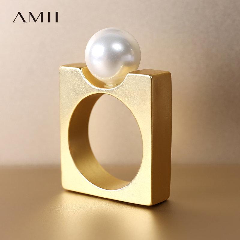 【券后预估价:61元】Amii[极简主义]几何创意贝珠方形戒指女新金属哑光电镀首饰 方形指环 撞料拼接 哑光电镀