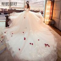 2018新款韩式显瘦抹胸新娘结婚礼服公主齐地大码一字肩婚纱长拖尾